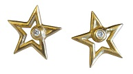 Star Earrings- 18K and diamond
