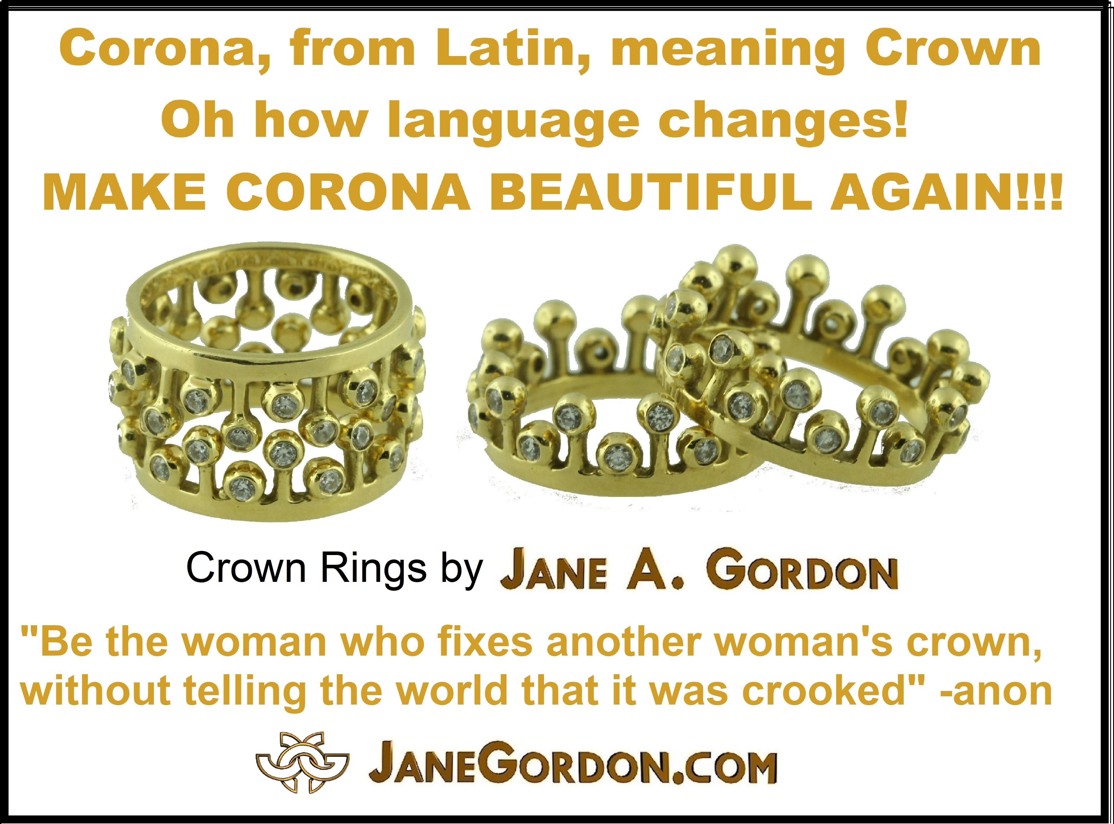 Crown Rings- Gold Diamonds-Jane Gordon Jewelry