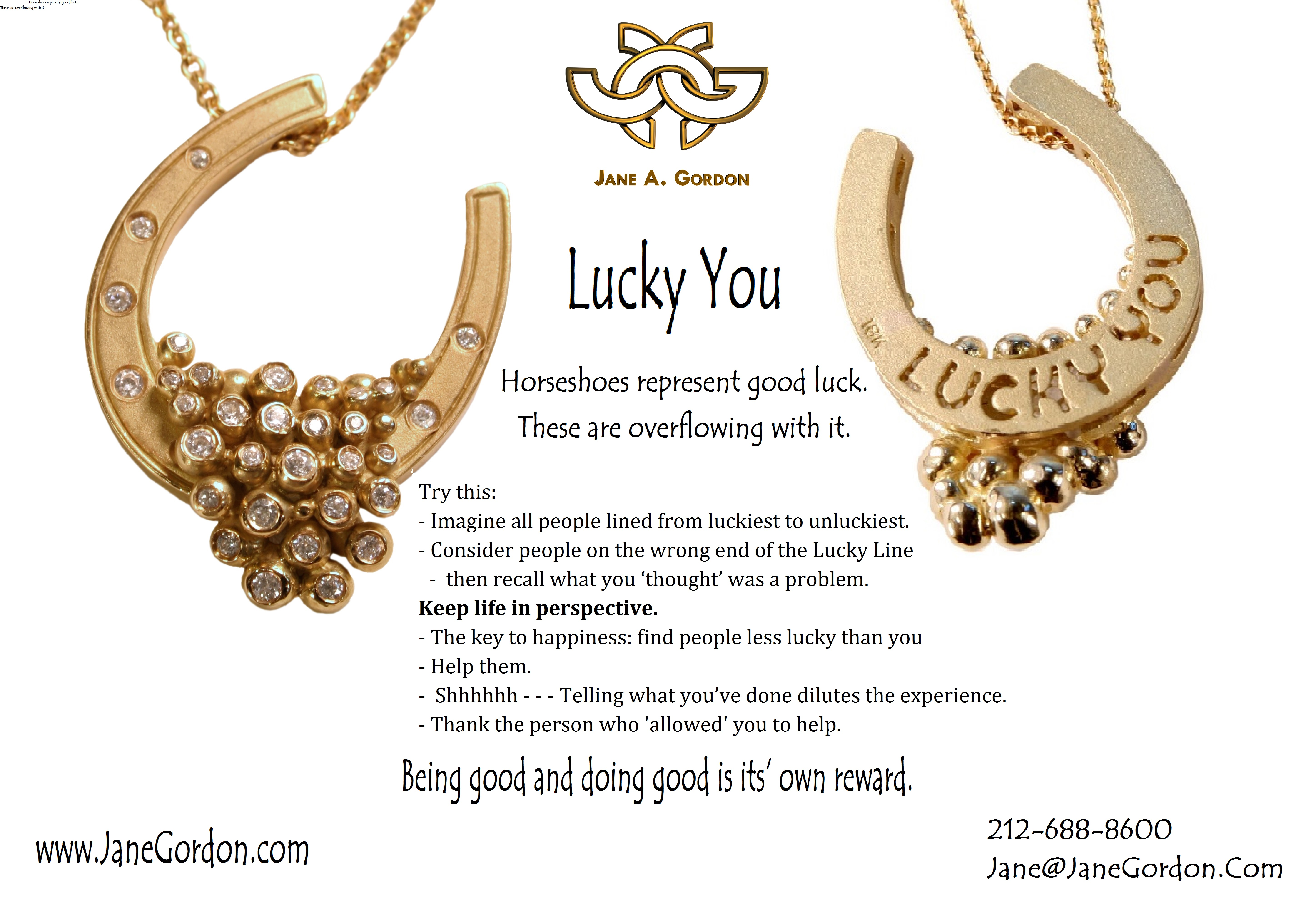 Lucky You.  Horseshoe necklace- available in gold or silver, with or without diamonds.